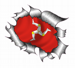 Ripped Torn Metal Design With Isle Of Man Mann Manx Flag Motif External Vinyl Car Sticker 105x130mm
